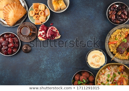 Arabic Food. Middle Eastern sweets and tea Stock photo © netkov1