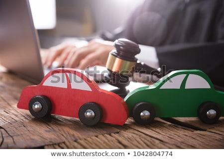 Rot Auto Schreibtisch Gerichtssaal Hammer Stock foto © AndreyPopov