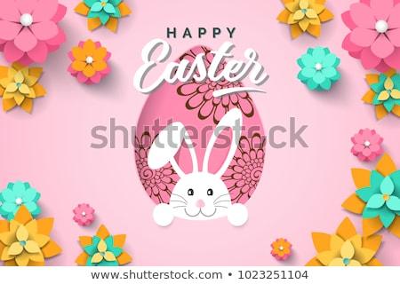 Happy easter card of paper craft rabbit in egg Stock photo © cienpies