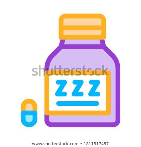 Bottiglia insonnia pillole icona contorno illustrazione Foto d'archivio © pikepicture