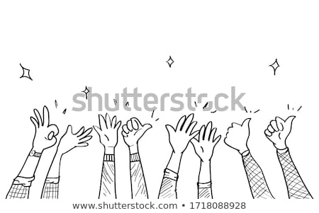 Cartoon hand in thumbs up gesture, simple outline icon Stock photo © evgeny89