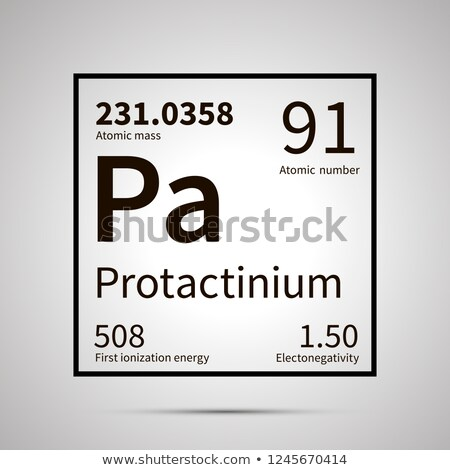 Protactinium chemical element with first ionization energy, atomic mass and electronegativity values Stock photo © evgeny89
