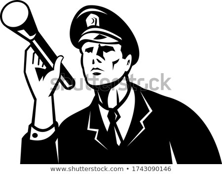 Law Enforcement Policeman Security Guard With Flashlight Retro Black and White Stock photo © patrimonio