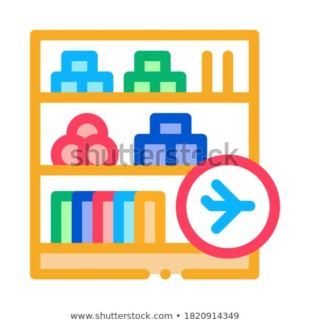 shelf with goods in duty free icon vector outline illustration Stock photo © pikepicture