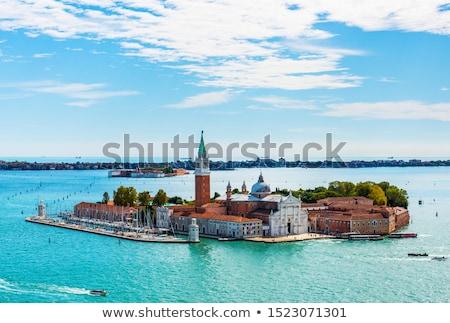 Aerial panorama of Venice lagoon with boats and San Giorgio di Maggiore church. Venice, Italy Stock photo © dmitry_rukhlenko