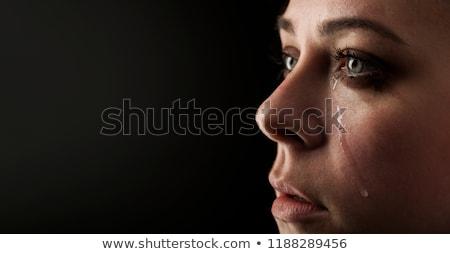 fiatal · nő · szenvedés · sír · könnyek · arc · nők - stock fotó © poco_bw
