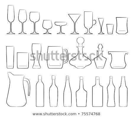 Conjunto estilizado copos de vinho copo de vinho floral Foto stock © IMaster