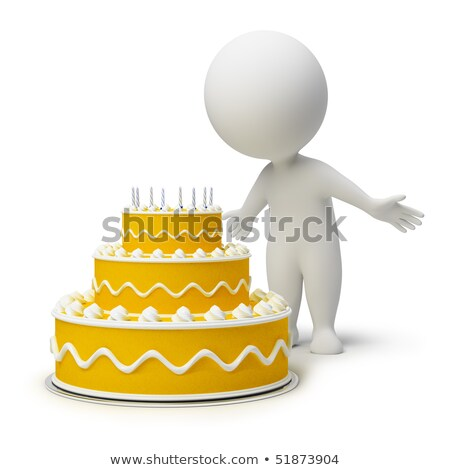 3d small people   birthday cake stock photo © anatolym