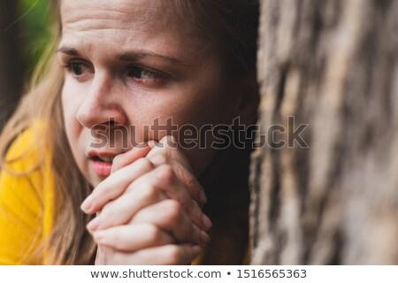 робкий женщину сокрытие за дерево природы Сток-фото © photography33