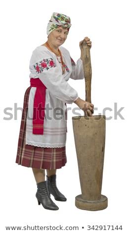 Orosz paraszt nő gyönyörű lány lucfenyő Stock fotó © PetrMalyshev