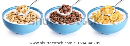 Cereali ciotola fresche mattina lamponi Foto d'archivio © cmcderm1