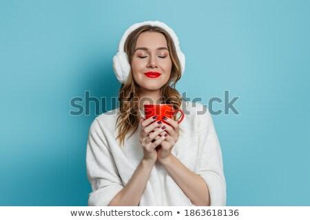 Zimą portret dziewczyna kubek herbaty Zdjęcia stock © MilosBekic