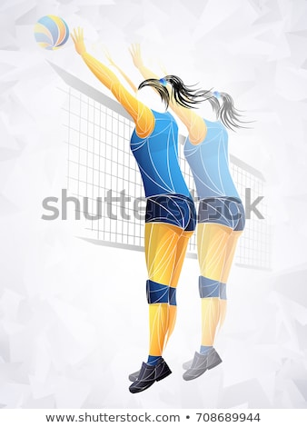 Two volleyball teams with ball on indoor court Stock photo © photography33