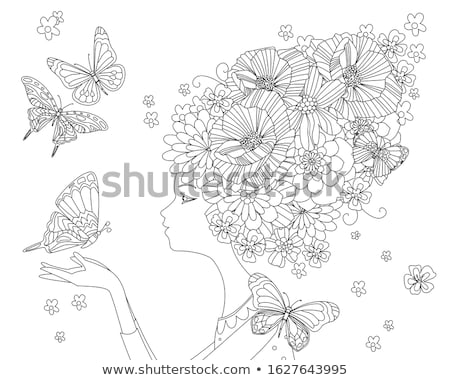 Stock fotó: Girl With Abstract Bizarre Hairstyle Vector Illustration