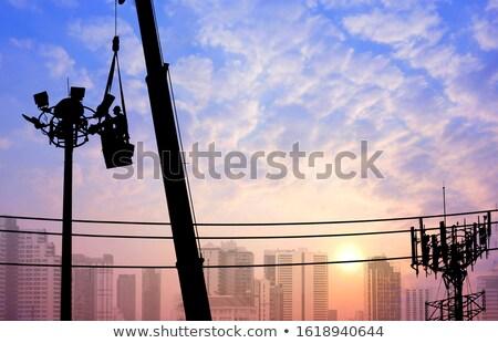 Colagem telecomunicações eletricidade edifício telefone construção Foto stock © gant
