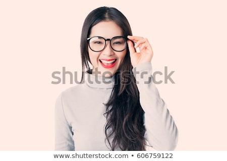 barna · hajú · visel · szemüveg · fiatal · kaukázusi · közelkép - stock fotó © yurok