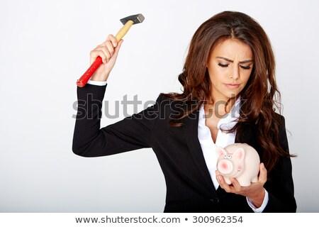 Fiatal nő nyitva persely pénz lány tájkép Stock fotó © photography33