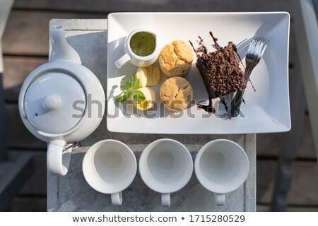 Sweet brownie with hot tea  Stock photo © happydancing