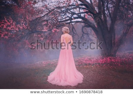 beauty fashion blond woman model in pink dress on black backgrou stock photo © victoria_andreas