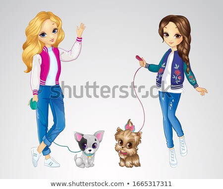 Stock photo: Beautiful female blond girl fashion model with puppy