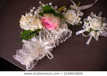 Stockfoto: Kouseband · bruid · witte · bruiloft · mode · lingerie