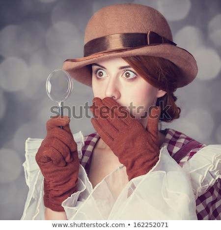 surprised redhead girl photo with bokeh at bakcground stock photo © massonforstock