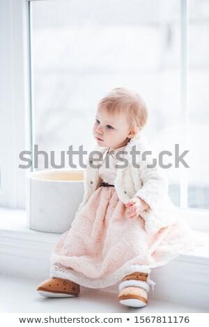Kislány portré ruha rózsaszín tél fehér Stock fotó © lunamarina