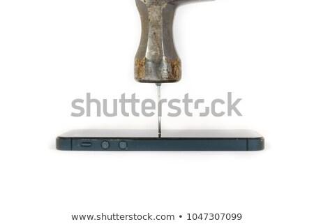 martelo · condução · prego · branco · mão - foto stock © wavebreak_media