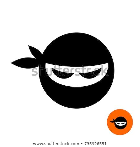 Foto stock: Ninja · cara · quadro · escuro · menina