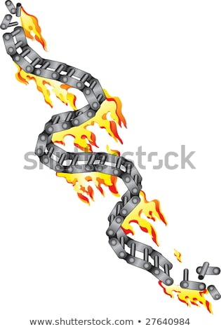 broken chain of a motorcycle in flames stock photo © Silvek
