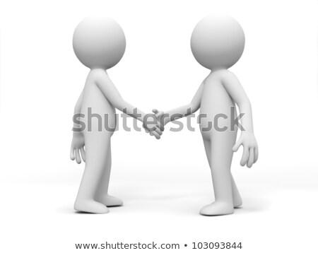 3d pessoas aperto de mão branco reunião feliz abstrato Foto stock © Quka