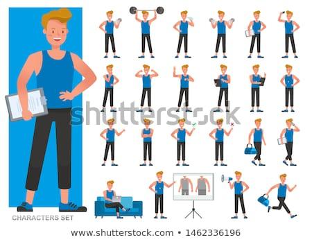 Vücut geliştirmeci çizim sanat karikatür karakter Stok fotoğraf © indiwarm