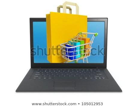 ilustração · 3d · compra · internet · loja · on-line · laptop · fundo - foto stock © kolobsek