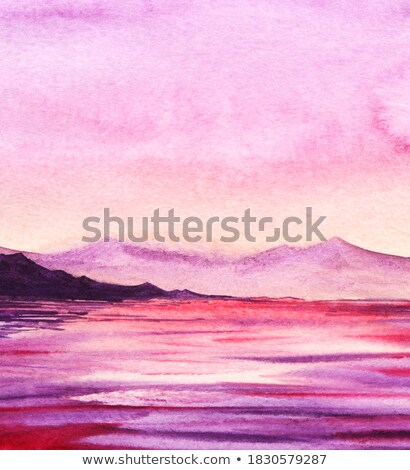 abstract dark purple sunrise with river Stock photo © lem