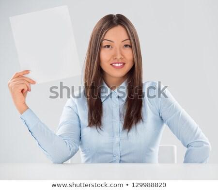 vrouw · vergadering · tonen · billboard · teken · cute - stockfoto © hasloo