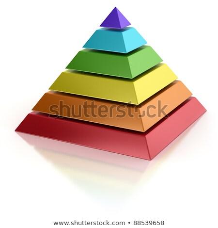 йога чакра пирамидами 3d визуализации семь красочный Сток-фото © Elenarts