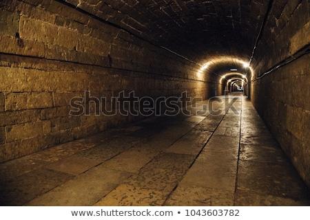 Ondergrondse verouderd Blauw straat teken straat Stockfoto © stevanovicigor