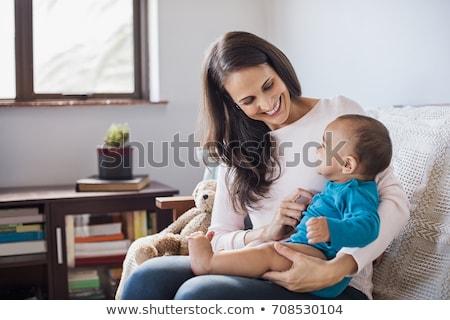 Koyu esmer anne erkek kadın sevmek mutlu Stok fotoğraf © dacasdo