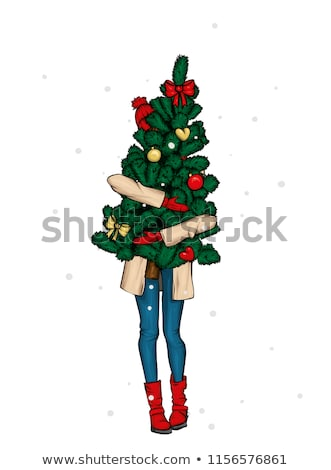 beautiful girl holding a Christmas hat Stock photo © evgenyatamanenko