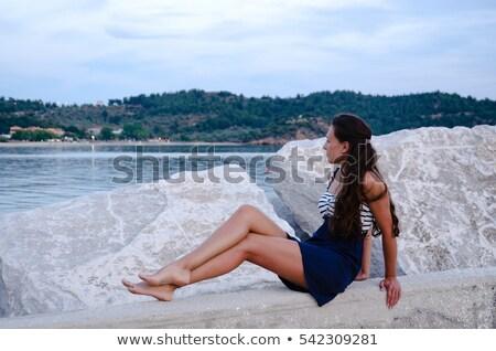 heureux · femme · séance · pierre · belle · femme · eau - photo stock © chesterf