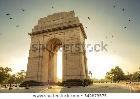 Indië poort new delhi beroemd hemel stad Stockfoto © meinzahn