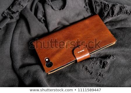 Handy Leder Fall isoliert weiß Telefon Stock foto © gavran333