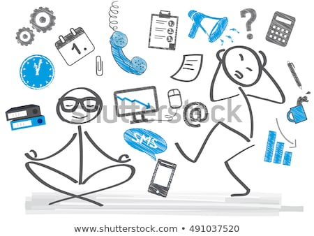 Stock fotó: üzletember · szakadt · telefonok · rajz · szürke · üzlet