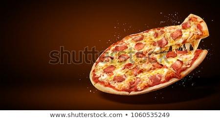 ピザ サラミ トウモロコシ ハーブ 木製 トレイ ストックフォト © MKucova