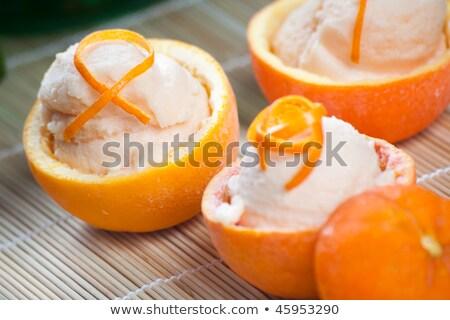 заморожены оранжевый шербет мята лист Сток-фото © hanusst