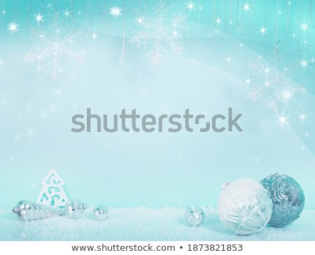 merry christmas card with silvery balls on blue background stock photo © leonardi