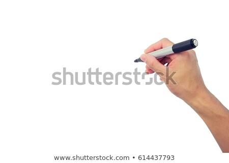 Hand houden pen schrijven witte Stockfoto © bloodua