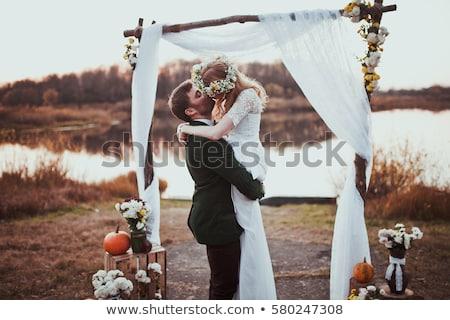 Stock fotó: Esküvő · csók · park · vőlegény · menyasszony · tart