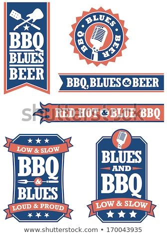 Barbecue blues badges facile vecteur Photo stock © fiftyfootelvis