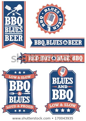barbecue · blues · badges · ingesteld · gemakkelijk · vector - stockfoto © fiftyfootelvis
